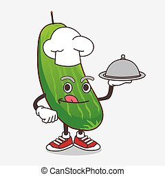 Cucumber cartoon mascot character as a Chef with food on tray ready to serve