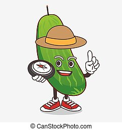 Cucumber cartoon mascot character having a compass