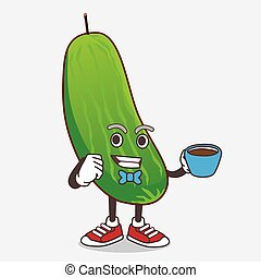 Cucumber cartoon mascot character with a cup of coffee