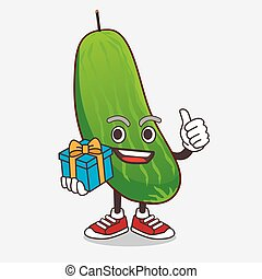 Cucumber cartoon mascot character with gift