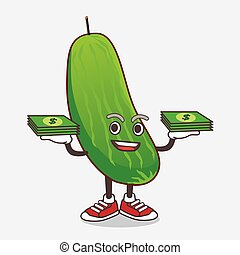 Cucumber cartoon mascot character with money on hands