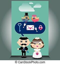 An illustration of cute wedding ico