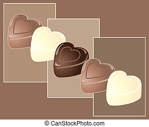 chocolate heart - an illustration of dark milk and white...