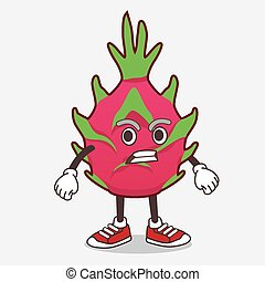 Dragon Fruit cartoon mascot character with angry face