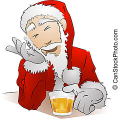 Illustration of drunk Santa Claus