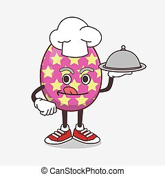 Easter Egg cartoon mascot character as a Chef with food on tray ready to serve