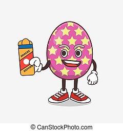 Easter Egg cartoon mascot character giving snacks