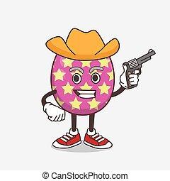 Easter Egg cartoon mascot character holding gun