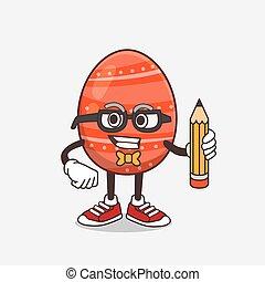 Easter Egg cartoon mascot character holding pencil