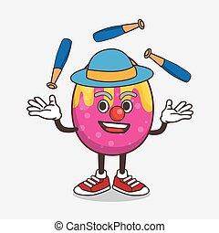 Easter Egg cartoon mascot character play Juggling