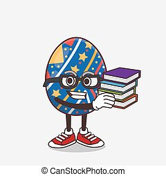 Easter Egg cartoon mascot character studying with some books