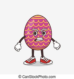 Easter Egg cartoon mascot character with angry face