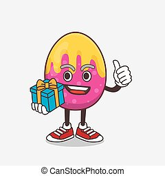 Easter Egg cartoon mascot character with gift