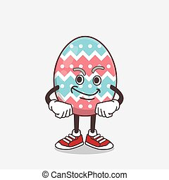 Easter Egg cartoon mascot character with smirking face