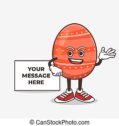 Easter Egg cartoon mascot character with whiteboard