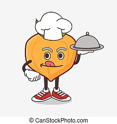 Eggfruit cartoon mascot character as a Chef with food on tray ready to serve