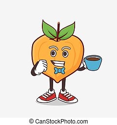 Eggfruit cartoon mascot character with a cup of coffee