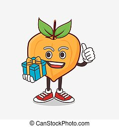 Eggfruit cartoon mascot character with gift