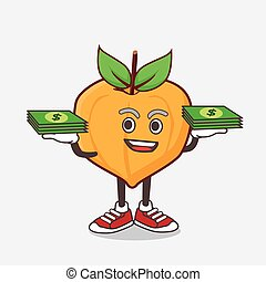 Eggfruit cartoon mascot character with money on hands