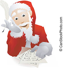 An illustration of Father Christmas or Santa Claus checking...