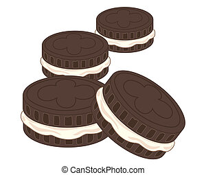 cream biscuits - an illustration of four chocolate sandwich...