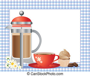 an illustration of french press coffee in a modern container with a red cup and saucer cup cake and chocolate squares on a blue gingham background with white note card for text