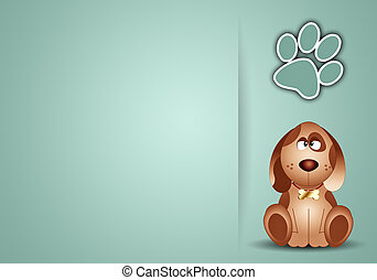 Funny dog with footprint - an illustration of Funny dog with...