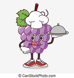 Grape Fruit cartoon mascot character as a Chef with food on tray ready to serve