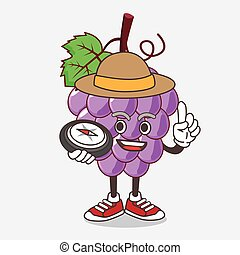 Grape Fruit cartoon mascot character having a compass