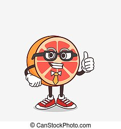 Grapefruit cartoon businessman mascot character wearing tie and glasses