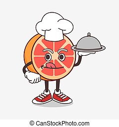 Grapefruit cartoon mascot character as a Chef with food on tray ready to serve