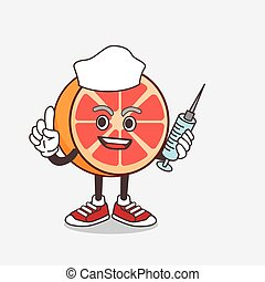 Grapefruit cartoon mascot character as nurse with medical syringe