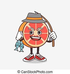 Grapefruit cartoon mascot character fishing with 2 fishes