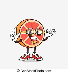 Grapefruit cartoon mascot character in geek style