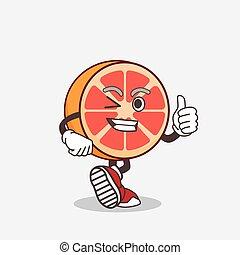 Grapefruit cartoon mascot character making Thumbs up gesture
