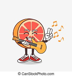 Grapefruit cartoon mascot character playing a guitar