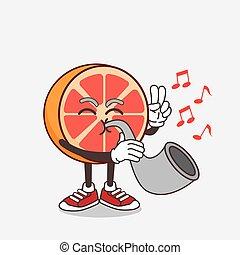 Grapefruit cartoon mascot character playing music with trumpet