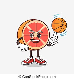 Grapefruit cartoon mascot character with a basketball