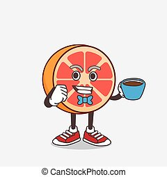 Grapefruit cartoon mascot character with a cup of coffee
