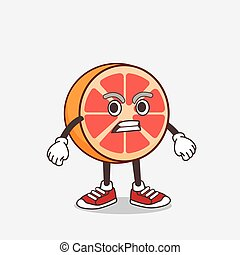 Grapefruit cartoon mascot character with angry face