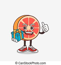 Grapefruit cartoon mascot character with gift