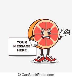 Grapefruit cartoon mascot character with whiteboard