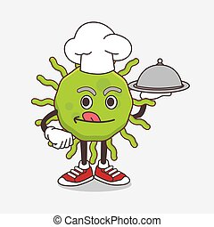 Green Virus cartoon mascot character as a Chef with food on tray ready to serve