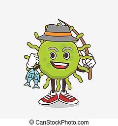 Green Virus cartoon mascot character fishing with 2 fishes