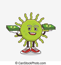 Green Virus cartoon mascot character with money on hands