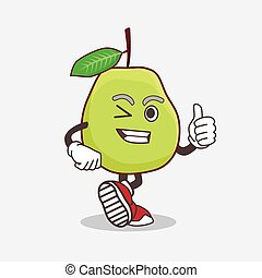 Guava Fruit of cartoon mascot character making Thumbs up gesture