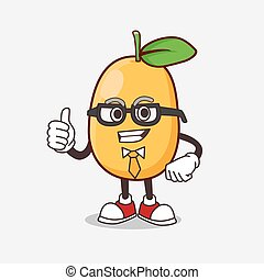 Kumquat Fruit cartoon businessman mascot character wearing tie and glasses