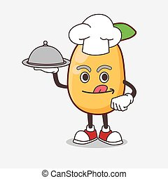 Kumquat Fruit cartoon mascot character as a Chef with food on tray ready to serve