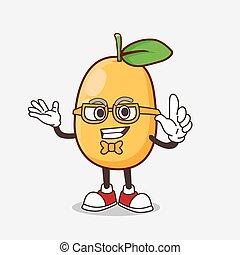 Kumquat Fruit cartoon mascot character in geek style