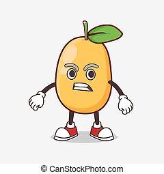 Kumquat Fruit cartoon mascot character with angry face